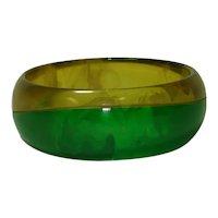 Laminated Marbled Transparent Green Apple Juice Bakelite Bangle Bracelet
