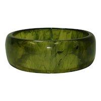 Pale Lime Green Marbled Transparent Bakelite Bangle Bracelet