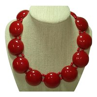 Translucent Cherry Red Bakelite Domed Discs Bib Necklace