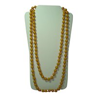 Hand Knotted Flapper Length Butterscotch Bakelite Necklace