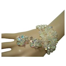 Sparkly Vendome A/B Crystal & Faux Pearl Bracelet & Earrings