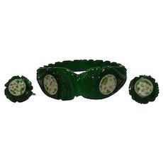 Beautiful Carved Green Prystal Bakelite & Micro Mosaic Bracelet & Earrings