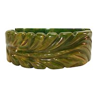 Carved Puffy Plume Marbled Green Bakelite Clamper Bracelet