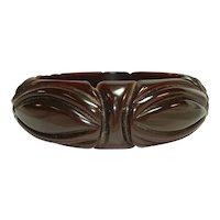 Heavyweight Deeply Carved Translucent Brown Bakelite Bangle Bracelet