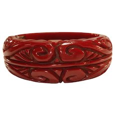 Chunky Deeply Carved Dark Wine Bakelite Clamper Bracelet