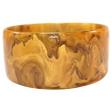 Wide Gaudy Marbled Mississippi Mud Bakelite Bangle Bracelet