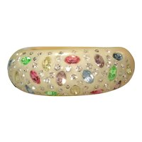 Weiss Sparkly Pastel & Brilliant Clear Rhinestone Thermoplastic Hinged Bracelet