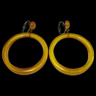 Large Pr. of Apple Juice Bakelite Hoop Earrings