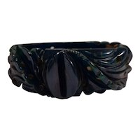 Carved & Pierced True Blue Moon Translucent Bakelite Hinged Bracelet