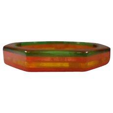 Octagonal Laminated Tri-Colored Marbled Prystal Bakelite Bangle Bracelet