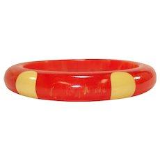 Heavily Marbled Orange Six Dot Bakelite Bangle Bracelet