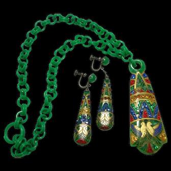 Breath-Taking Art Deco 1920's Celluloid Rhinestone Necklace & Earrings