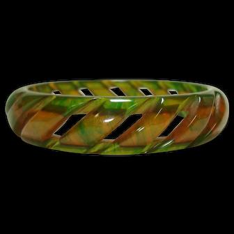 Incredible Cut Out Carved Ink Spot Bakelite Bangle Bracelet