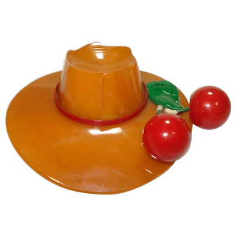 Carved Marbled Butterscotch Hat Pin with Cherries