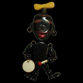 Whimsical Articulated Blackamoor Bakelite Pin