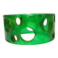 Wide & Chunky Swiss Cheese Ink Spot Bakelite Bangle Bracelet