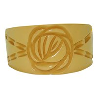 Wide Carved Cream Corn Bakelite Bangle Bracelet