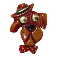 Goofy Googly Eyes DOG with Hat & Bowtie Overdyed Bakelite Pin