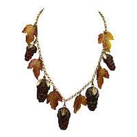 Carved & Painted Bakelite Pinecone Necklace