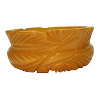 1930's Carved Butterscotch Bakelite Bangle Bracelet