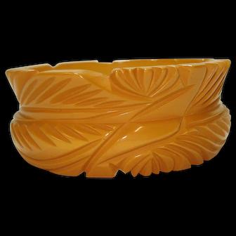 1930's Carved Butterscotch Bakelite Bangle Bracelet