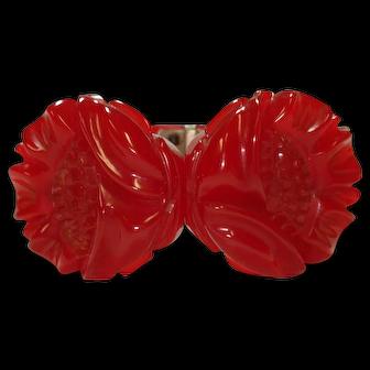 Carved Translucent Cherry Red Bakelite Clamper Bracelet