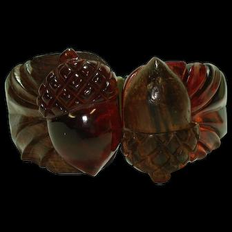 Carved Wood & Bakelite Acorns Hinged Bracelet