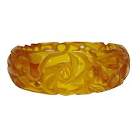 Carved & Pierced Apple Juice Bakelite Bangle Bracelet