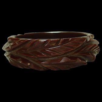 Chunky Carved Leaves Chocolate Brown Bakelite Bracelet