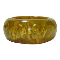 Wide & Chunky Olive Gaudy Marbled Bakelite Bangle Bracelet