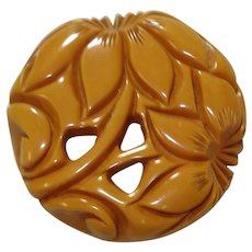 Large Carved & Pierced Butterscotch Bakelite Floral Pin