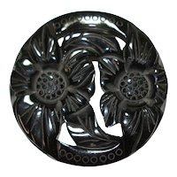 Large Round Carved & Pierced Jet Black Bakelite Pin