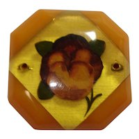 Reverse Carved & Painted Bakelite Pansy Pin