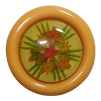 Reverse Carved & Painted Apple Juice & Butterscotch Bakelite Floral Pin