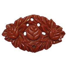 Deeply Carved & Pierced Sienna Brown Bakelite Floral Pin