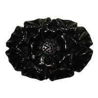 Carved & Pierced Jet Black Bakelite Floral Pin