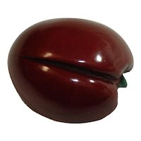 Carved & Over Dyed Bakelite Plum Pin