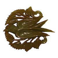 Carved Green Bakelite Bird Pin