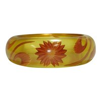 Thick Reverse Carved & Painted Apple Juice Bakelite Bangle Bracelet