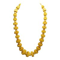 Carved Gear & Round Shaped Butterscotch Bakelite Bead Necklace