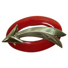Large Cherry Red Bakelite & Chrome Arrow Pin