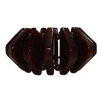 Vintage Translucent Cranberry Bakelite Triangles & Beads Stretch Bracelet