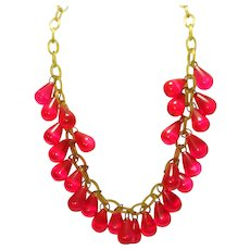 WOW Hot Pink Prystal Bakelite & Celluloid Necklace
