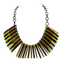 Jet Black & Apple Juice Bakelite & Celluloid Bib Necklace