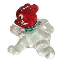 Vintage Painted Reverse Carved Lucite Running Bear Pin