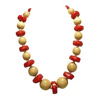 Zig Zag Carved Cherry Red Bakelite & Wood Necklace