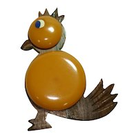 Wood & Butterscotch Bakelite Bird Pin