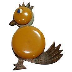 Wood & Butterscotch Bakelite Bird Pin
