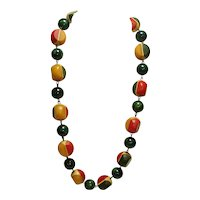 Spectacular Multi Colored Carved & Laminated Bakelite Beaded Necklace