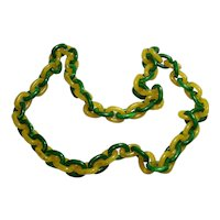 Chunky Marbled Green & Lemon Plastic Link Necklace